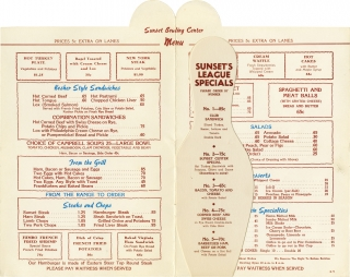 Menu for the Sunset Bowling Center. Sunset Bowling Lanes, Old Warner Brothers Studio.