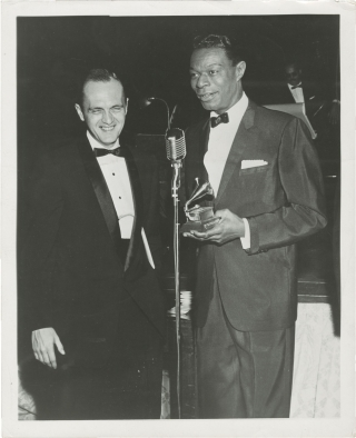 Original photograph of Nat 'King' Cole and Bob Newhart, 1959. Nat 'King' Cole, Bob Newhart...