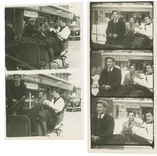 Archive of five images of Josephine Baker and her husband Jean Lion on two contact strips, one...