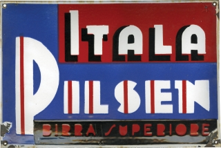 Original Itala Pilsen beer sign used in The Godfather (1971). The Godfather.