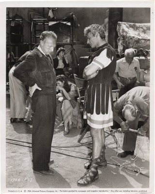 Sign of the Pagan (Original photograph from the set of the 1954 film). Douglas Sirk, Barre Lyndon...