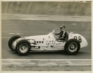Archive of 27 oversize photographs of Indy race cars at the Indianapolis Motor Speedway, circa 1957