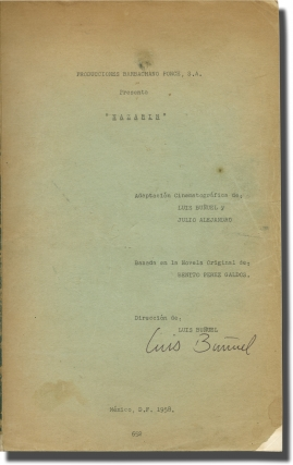 Nazarin (Original screenplay for the 1959 film, signed copy belonging to director Luis Bunuel)....