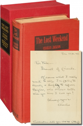 The Lost Weekend (First Edition, inscribed to actress Nila Mack prior to publication). Charles...