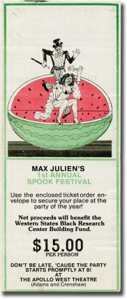 Max Julien's 1st Annual Spook Festival (Original flyer for the 1979 event). Max Julien
