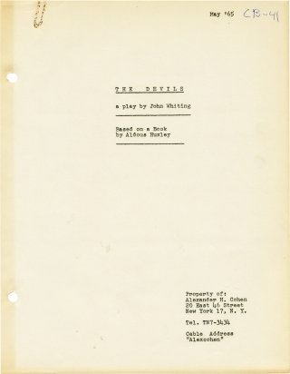 The Devils (Original playscript for the 1961 play). John Whiting, Aldous Huxley, play, novel