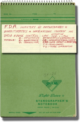 Pharmacy notebook detailing amphetamine and barbiturate stock, and notes on the first Drug Abuse...