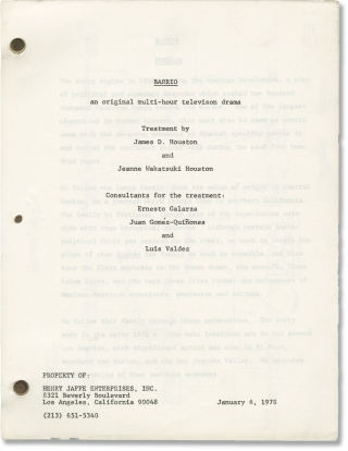 Barrio (Original screenplay for an unproduced television miniseries). James D. Houston, Jeanne...