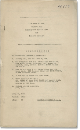 So Evil My Love (Original post-production screenplay for the 1948 film). Lewis Allen, Leonard...