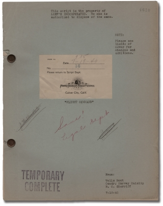 Flight Command (Original screenplay for the 1940 film). Frank Borzage, Wells Root Harvey S....