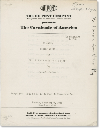 The Cavalcade of America: Mr. Lincoln Goes to the Play (Original script for the 1948 radio...