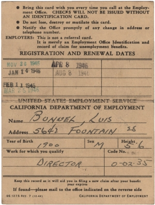 Signed California Department of Employment ID Card (1945-1946). Luis Bunuel, subject
