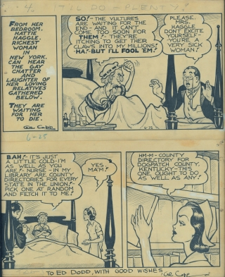 Original artwork for Li'l Abner comic strip, June 25, 1936, inscribed to Ed Dodd. Al Capp, Ed...