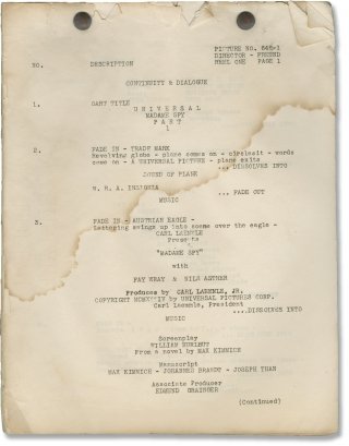 Madame Spy (Original post-production script for the 1934 film). Karl Freund, William Hurlbut, Max...