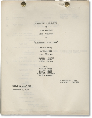 A Stranger in My Arms (Original post-production script for the 1959 film). Helmut Kautner, Peter...