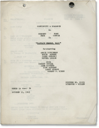 Captain Newman, M.D. (Original post-production screenplay for the 1963 film). David Miller, Henry...