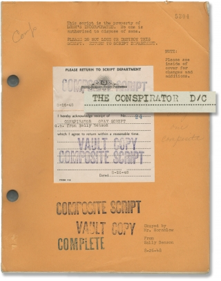 Conspirator (Original screenplay for the 1949 film). Victor Saville, Sally Benson, Humphrey...