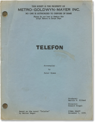 Telefon (Original screenplay for the 1977 film). Don Siegel, Peter Hyams, Lee Remick Charles...