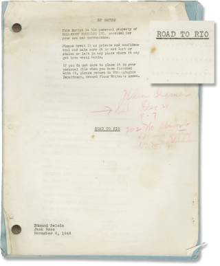 Road to Rio (Original screenplay for the 1947 film). Norman Z. McLeod, Jack Rose Edmund Beloin,...
