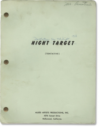 Footsteps in the Night [Night Target] (Original screenplay for the 1957 film). Jean Yarbrough,...