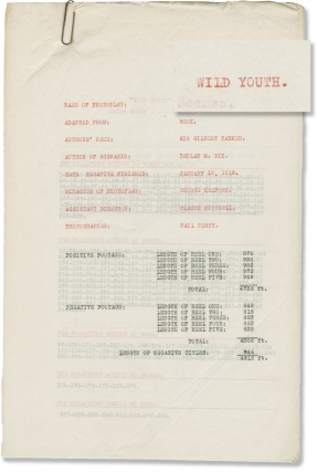 Wild Youth (Original post-production script for the 1918 film). George Melford, Gilbert Parker,...