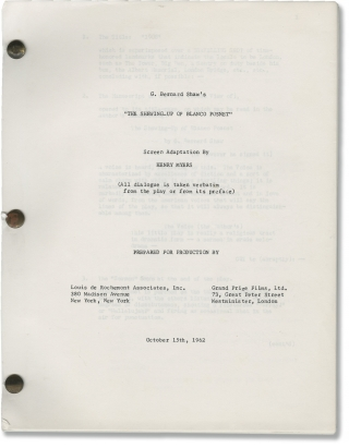 The Shewing-Up of Blanco Posnet (Original screenplay for an unproduced film). George Bernard...