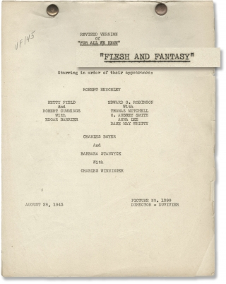 Flesh and Fantasy (Original post-production screenplay for the 1943 film). Julien Duvivier,...