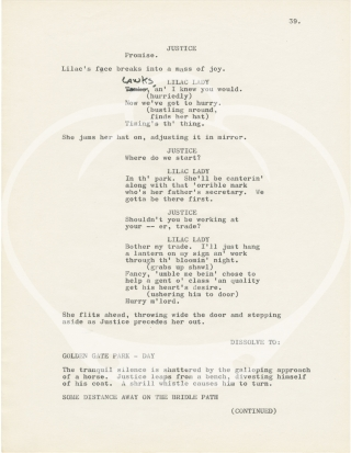Untitled typescript screenplay for an unproduced film