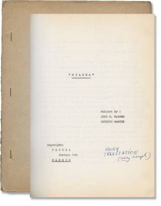 Milena (Original treatment script for an unproduced film). Jose G. Maesso, Eugenio Martin,...