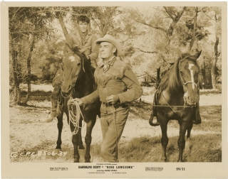 Ride Lonesome (Two original photographs from the 1959 film). Budd Boetticher, Burt Kennedy, Karen...