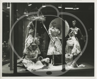Collection of 140 original photographs of department store window displays in New York City and Southern California, circa 1950s