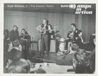 Hank Williams, Jr. and The Cheatin' Hearts Promotional Flyer / Handbill for Sunn Amplifiers (Amps...