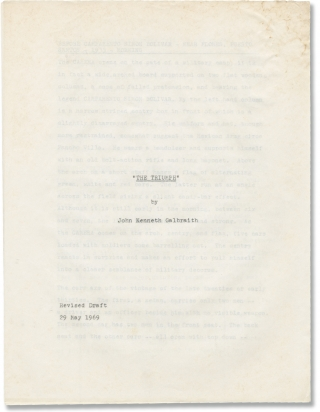The Triumph (Original screenplay for an unproduced film). John Kenneth Galbraith, screenwriter novel