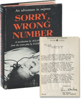 Sorry, Wrong Number (First Edition, review copy, with letter from Paramount publicity to actress...