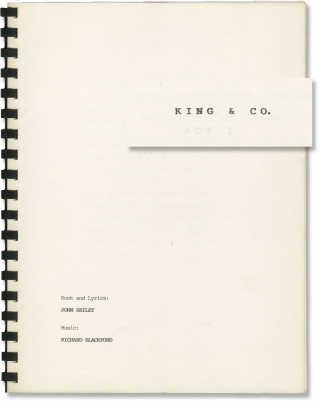 King and Co (Original script for an unproduced play). John Briley, Richard Blackford, lyrics...