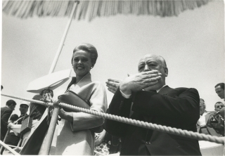 Original photograph of Alfred Hitchcock and Tippi Hedren at Cannes, 1963. Alfred Hitchcock, Tippi...