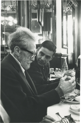 Original photograph of Ezra Pound and Olivier Todd at the Brasserie Lipp, circa 1965. Ezra Pound,...