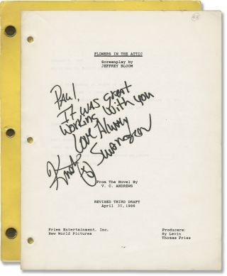 Flowers in the Attic (Original screenplay for the 1987 film, inscribed by Kristy Swanson)....
