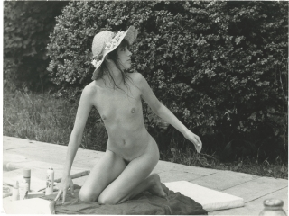 Original photograph of Jane Birkin lounging poolside, 1973