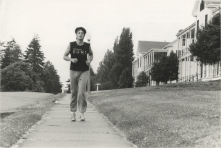 "Original candid photograph of Kyle MacLachlan [Mac Lachlan] jogging in preparation for ""Dune,""..."