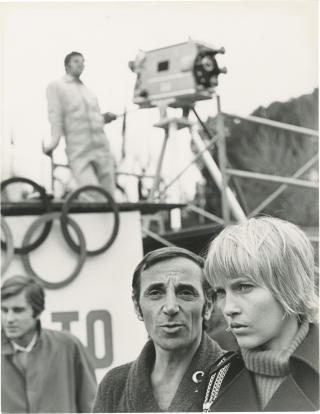 The Games (Original photograph on the set of the 1970 film). Charles Aznavour, Michael Winner,...