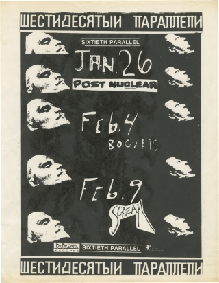 Original flyer for three shows by Sixtieth Parallel, 1989. Sixtieth Parallel
