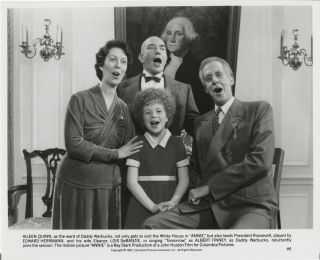Annie (Two original photographs from the 1982 film). John Huston, Harold Gray, Martin Charnin...