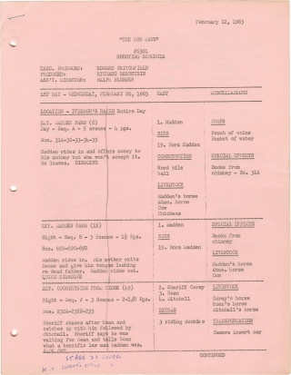 The Gun Hawk (Original shooting schedule for the 1963 film). Edward Ludwig, Max Steeber Richard...