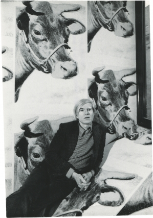 Andy Warhol at his 1971 retrospective at the Whitney Museum of American Art (Original photograph...
