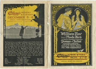 Romeo and Juliet (Original program for the 1916 film starring Theda Bara). J. Gordon Edwards,...