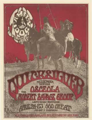 Original flyer for a performance by Quicksilver Messenger Service, 1970. Osceola Quicksilver...