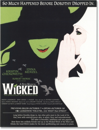 Wicked (Archive of three vintage scripts from the 2003 musical). Stephen Schwartz, Winnie...