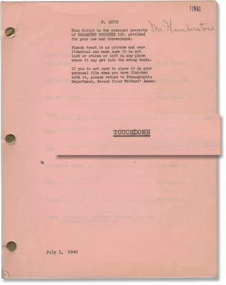 The Quarterback [Touchdown] (Original screenplay archive for the 1940 film, copy belonging to...