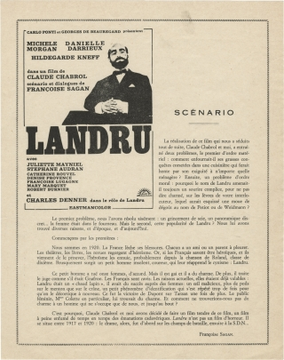 Landru [Bluebeard] (Promotional flyer for the 1963 French film). Claude Chabrol, Francoise Sagan,...